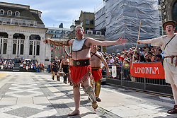 © Licensed to London News Pictures. 26/08/2017. London, UK. Members of the Brittania re-enactment group dressed as gladiators put on Gladitorial Games in Guildhall Yard, the site of London's only Roman Amphitheatre.  The Gladiator Games will be entertaining crowds over the August Bank Holiday Weekend. Photo credit : Stephen Chung/LNP
