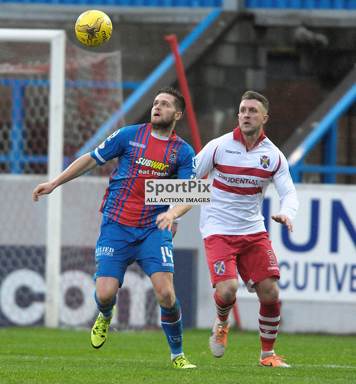 Danny Devine (ICT, Blue &amp; Red) and Kevin McKinlay (Stirling Albion, red &amp; white)<br /> <br /> Stirling Albion v Inverness Caledonian Thistle, Scottish Cup, Saturday 9th January 2016<br /> <br /> (c) Alex Todd | SportPix.org.uk