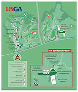 "A vector map of the 2016 United States Golf Association US Open at Oakmont golf club in Pennsylvania. Oakmont Country Club is a country club and the ""oldest top-ranked golf course in the U.S."", near Pittsburgh's northeast suburbs of Plum and Oakmont, Pennsylvania"