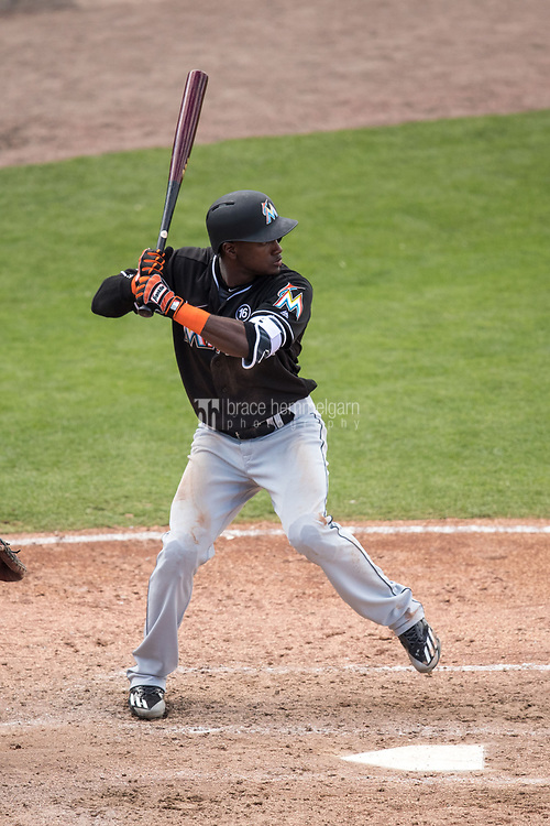 FORT MYERS, FL- FEBRUARY 27: Adeiny Hechavarria #3 of the Miami Marlins bats against the Minnesota Twins on February 27, 2017 at the CenturyLink Sports Complex in Fort Myers, Florida. (Photo by Brace Hemmelgarn) *** Local Caption *** Adeiny Hechavarria