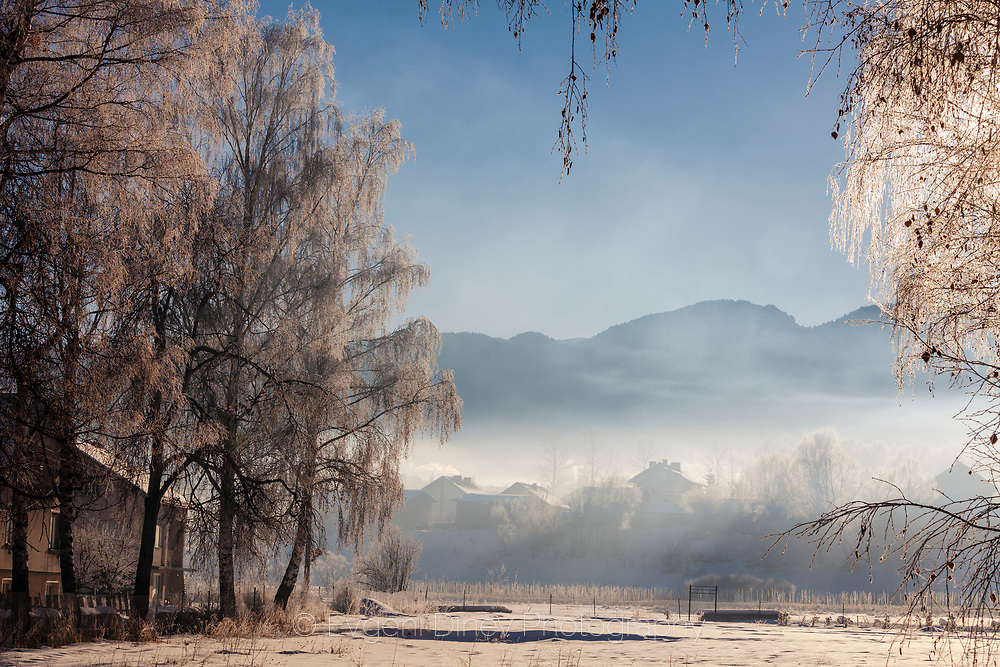 Cold winter morning in village of Govedartsi