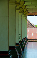 Row of columns at the Museum in Kerta Gosa in Klungklung in Bali Indonesia