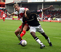 Photo: Mark Stephenson.<br /> Walsall v Port Vale. Coca Cola League 1. 08/09/2007.Port Vale's Marc Edeards hold the ball up from Walsall's Martin Butler