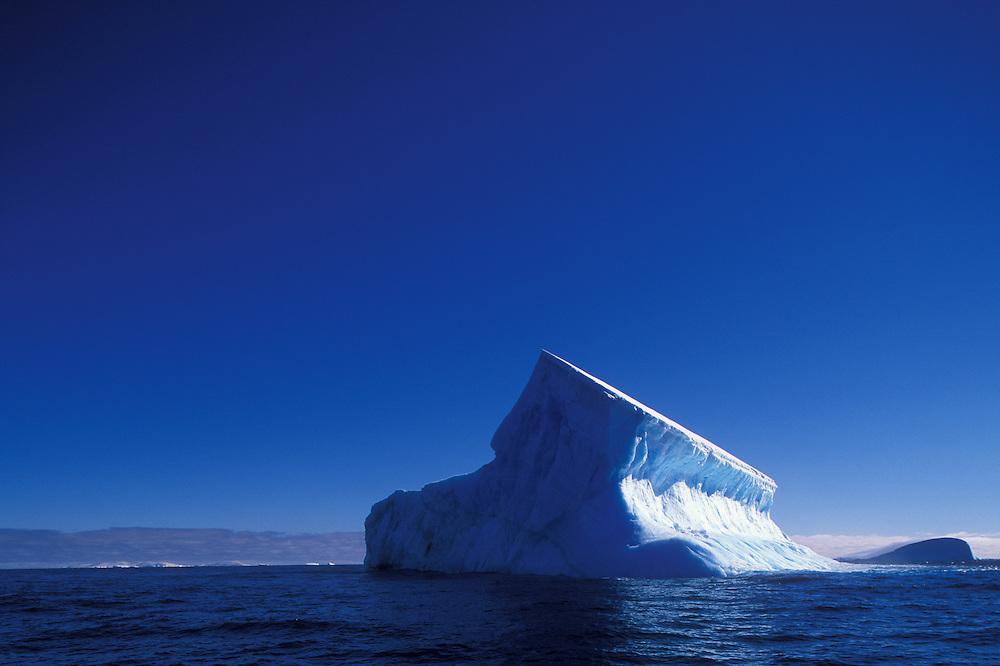 Antarctica, Morning sun lights deep blue iceberg floating north of Trinity Island