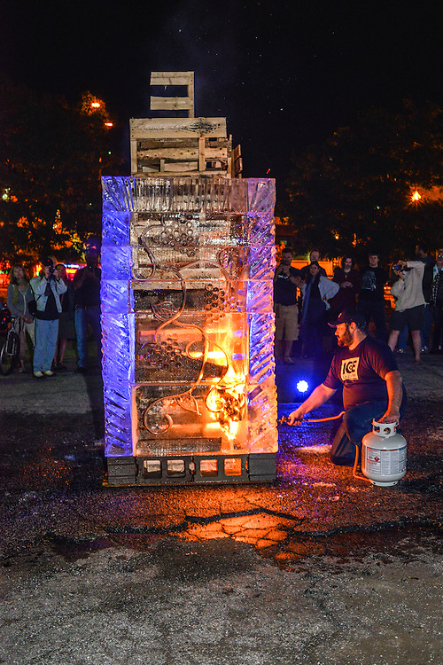 Fire and Ice Tower being lit at the NorthSide district during Akron Art Prize 2014.