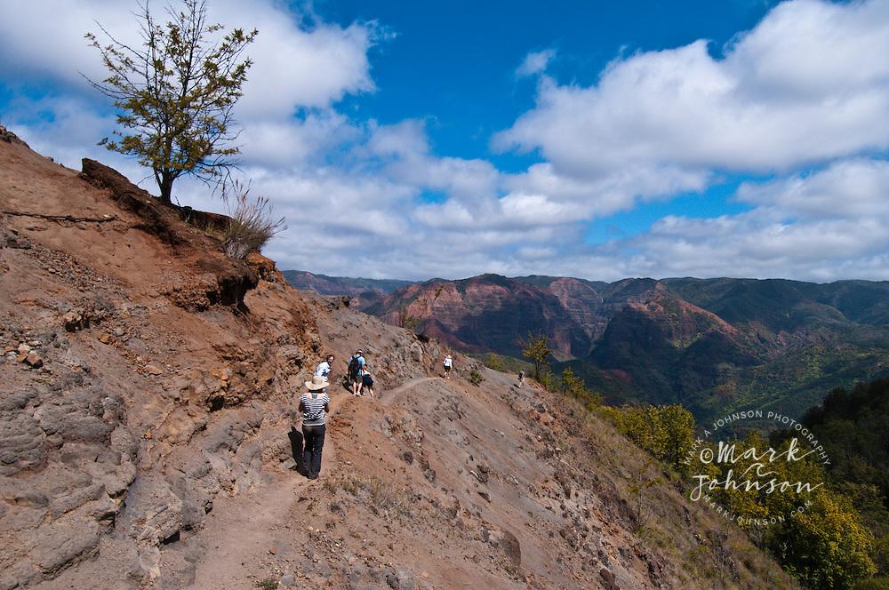 Hikers on the Kukui Trail, Waimea Canyon, Kauai, Hawaii