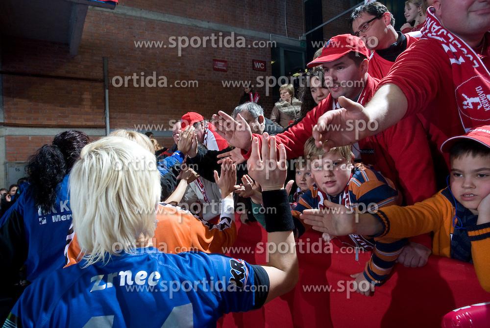 Maja Zrnec and Krimovci, Fans of Krim at EHF Champions league handball match in Group II between RK Krim Mercator and Gyori Audi Eto KC, on February 7, 2009, in Kodeljevo, Ljubljana, Slovenia. Gyori won 35:31. (Photo by Vid Ponikvar / Sportida)