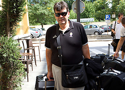 Coach Memi Becirovic at arrival of Slovenian basketball team from a friendly tournament in Spain, on August 9, 2010 at City Hotel, Ljubljana, Slovenia. (Photo by Vid Ponikvar / Sportida)