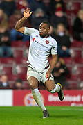 Uche Ikpeazu (#19) of Heart of Midlothian during the William Hill Scottish Cup quarter final replay match between Heart of Midlothian and Partick Thistle at Tynecastle Stadium, Gorgie, Edinburgh Scotland on 12 March 2019.