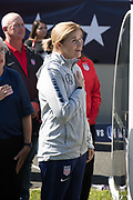 USA head coach Jill Ellis sings the national anthem before an international friendly against South Korea in Chicago, Sunday, Oct. 6, 2019, in Chicago. USWNT tied the Korea Republic 1-1. (Max Siker/Image of Sport)