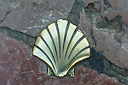 Pilgrim shell of St James on Pilgrim Route, Camino de Santiago de Compostela in Leon, Castilla y Leon, Spain