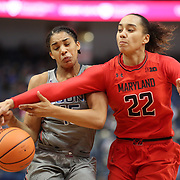 HARTFORD, CONNECTICUT- NOVEMBER 19:  Gabby Williams #15 of the Connecticut Huskies is would by Blair Watson #22 of the Maryland Terrapins during the the UConn Huskies Vs Maryland Terrapins, NCAA Women's Basketball game at the XL Center, Hartford, Connecticut. November 19th, 2017 (Photo by Tim Clayton/Corbis via Getty Images)