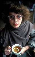 Dutch woman with a lipsticked teacup