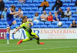 Joey van den Berg of Reading tries to block Joe Ralls of Cardiff City's shot at goal  - Mandatory by-line: Nizaam Jones/JMP - 27/08/2016 -  FOOTBALL - Cardiff City Stadium - Cardiff, Wales -  Cardiff City v Reading - Sky Bet Championship