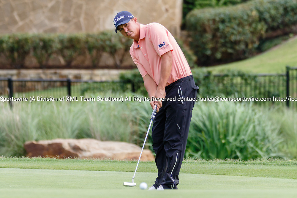 28 MAY 2015: Jason Dufner putts on #17 during the first round of the AT&T Byron Nelson Championship in Irving, TX.