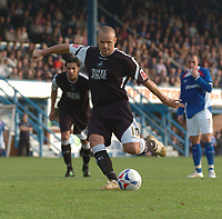 Photo: Ian Hebden.<br /> <br /> Chesterfield United v Swansea City. Coca Cola League 1. 14/10/2006.<br /> <br /> Lee Trundle scores Swanseas third goal from the penalty spot.