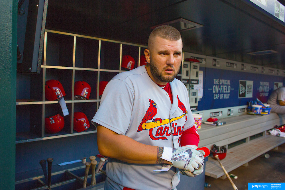 NEW YORK, NEW YORK - July 27: Matt Adams #32 of the St. Louis Cardinals in the dugout preparing to bat during the St. Louis Cardinals Vs New York Mets regular season MLB game at Citi Field on July 27, 2016 in New York City. (Photo by Tim Clayton/Corbis via Getty Images)