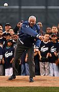 General Colin Powell throws out the ceremonial first pitch at the Newark Bears game.  Partial proceeds from the game will be donated to America's Promise Alliance, the national children's advocacy organization that General Powell founded.