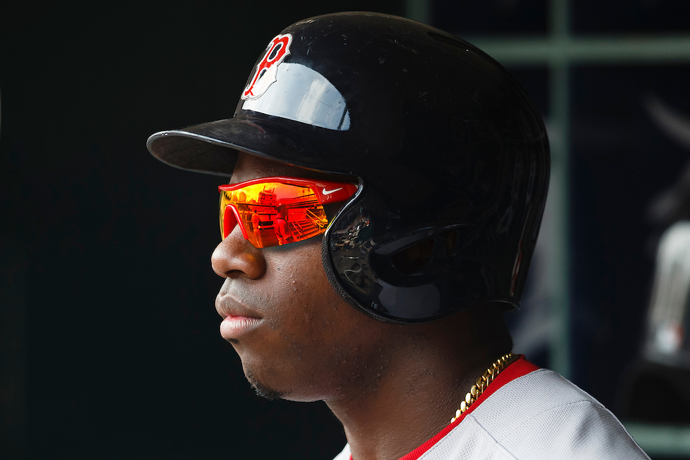 Aug 9, 2015; Detroit, MI, USA; Boston Red Sox right fielder Rusney Castillo (38) in the dugout against the Detroit Tigers at Comerica Park. Mandatory Credit: Rick Osentoski-USA TODAY Sports