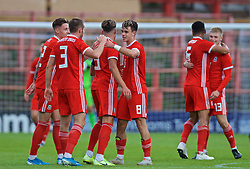 WREXHAM, WALES - Friday, September 6, 2019: Wales' Robbie Burton celebrates his team's victory over Belgium after the UEFA Under-21 Championship Italy 2019 Qualifying Group 9 match at the Racecourse Ground. Wales won 1-0. (Pic by Laura Malkin/Propaganda)