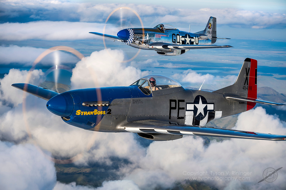 David Presta flying P-51D StrawBoss 2 with Sal Rubino, Jr. flying P-51D Grim Reaper. Beech 18 photo ship flown by Steve Lamb, Jr. over Hollister, CA.