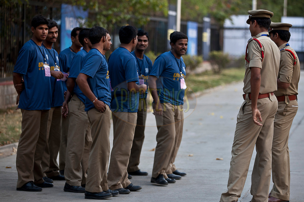 security instructions during match 11 of the Indian Premier League ( IPL ) between the Deccan Chargers and the Royal Challengers Bangalore held at the Rajiv Gandhi International Cricket Stadium in Hyderabad on the 14th April 2011..Photo by Saikat Das/BCCI/SPORTZPICS