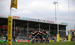 General view of Sandy Park as Exeter Chiefs hold a pre match huddle prior to kick off - Photo mandatory by-line: Harry Trump/JMP - Mobile: 07966 386802 - 14/02/15 - SPORT - Rugby - Aviva Premiership - Sandy Park, Exeter, England - Exeter Chiefs v Newcastle Falcons