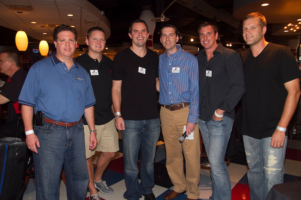"""BAY_BowlingForDreams..Caption:(Thursday 08/12/2010 Tampa) Rabian Brooks, Gill Lazenby, Scott Jarred, Tommy Chuck, Kolby Jones and Jess Wirts make up the First Team, hosts of the 3rd Annual """"Bowling for Dreams"""" event at Splitsville at Channelside in Tampa. The event was sponsored by AJA Channelside, AJA Wiergrass and The Drynk, with 100% of proceeds benefiting the Children's Dream Fund...Summary:3rd Annual """"Bowling for Dreams""""..Photo by James Branaman"""