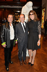Left to right, CHICO BOUCHIKHI,  PROSPER ASSOULINE and MARTINE ASSOULINE at a party to celebrate the launch of the Maison Assouline Flagship Store at 196a Piccadilly, London on 28th October 2014.  During the evening Valentino signed copies of his new book - At The Emperor's Table.