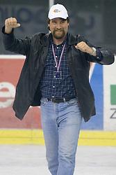Head coach of Jesenice Mike Posma celebrates at 6th Round of ice-hockey Slovenian National Championships match between HDD Tilia Olimpija and HK Acroni Jesenice, on April 2, 2010, Hala Tivoli, Ljubljana, Slovenia.  Acroni Jesenice won 3:2 after overtime and became Slovenian National Champion 2010. (Photo by Vid Ponikvar / Sportida)