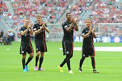 09.08.2014, Allianz Arena, Muenchen, GER, 1. FBL, FC Bayern München, Teampräsentation, im Bild vl. Philipp Lahm (FC Bayern Muenchen), Thomas Mueller (FC Bayern Muenchen), Jerome Boateng (FC Bayern Muenchen) und Mario Goetze (FC Bayern Muenchen) // during the Team Presentation of German Bundesliga Club FC Bayern Munich at the Allianz Arena in Muenchen, Germany on 2014/08/09. EXPA Pictures © 2014, PhotoCredit: EXPA/ Eibner-Pressefoto/ Stuetzle<br /> <br /> *****ATTENTION - OUT of GER*****