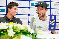 Primoz Roglic and Mark Cavendish during press conference of 25th Tour de Slovenie 2018 cycling race, on June 12, 2018 in Hotel Livada, Moravske Toplice, Slovenia. Photo by Vid Ponikvar / Sportida