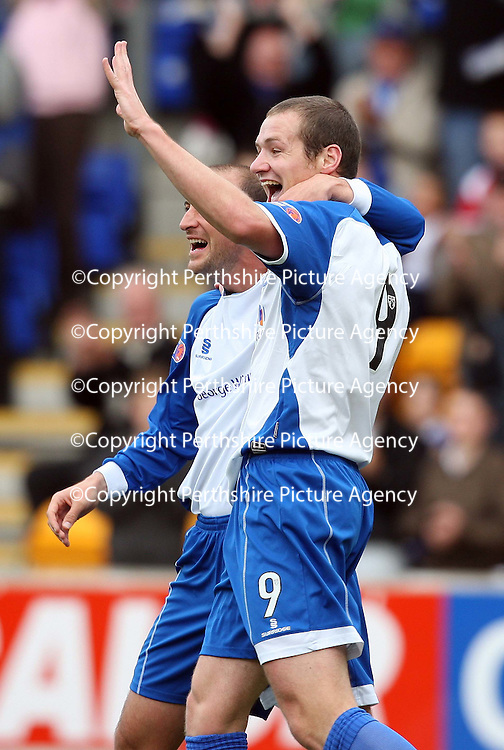 St Johnstone v Queen of the South....20.10.07<br /> Kenny Deuchar celebrates making it 1-0 with Paul Sheerin<br /> Picture by Graeme Hart.<br /> Copyright Perthshire Picture Agency<br /> Tel: 01738 623350  Mobile: 07990 594431