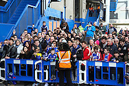 Fans await the arrival of Chelsea players before the Barclays Premier League match at Stamford Bridge, London<br /> Picture by David Horn/Focus Images Ltd +44 7545 970036<br /> 22/02/2014
