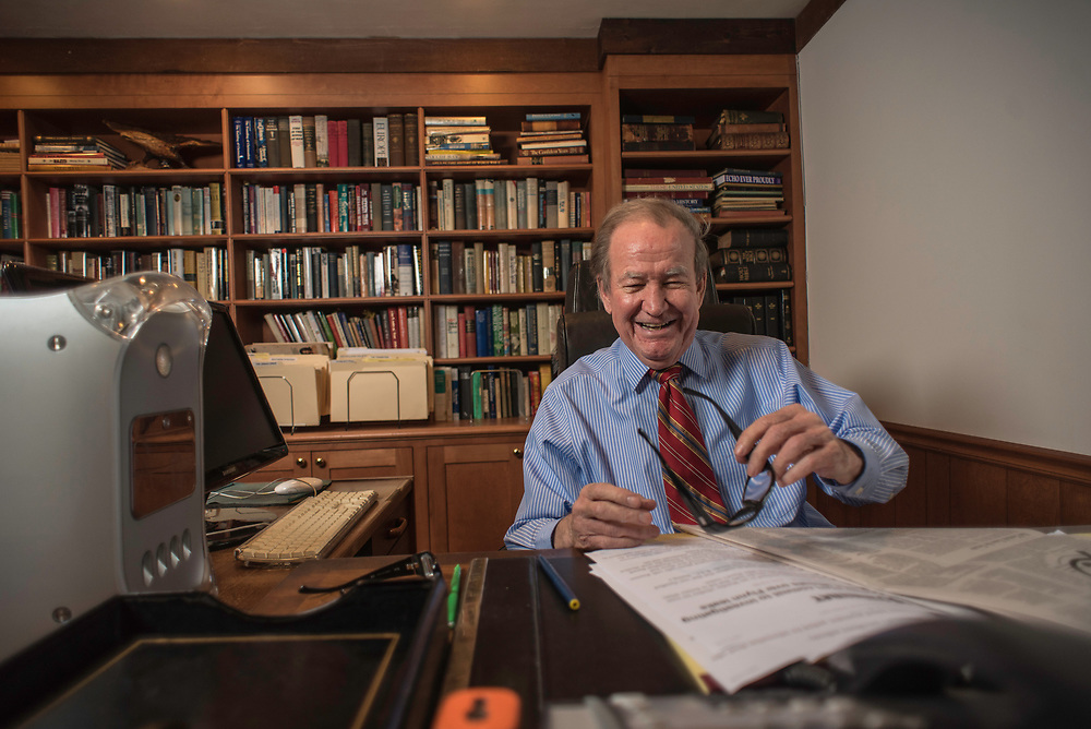 MCLEAN, VA -- 3/21/17 -- Respected conservative commentator Pat Buchanan reflects on his career at his home in McLean. .…by André Chung #_AC24034