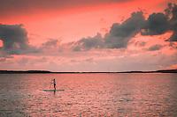Sunset stand up paddle board session, Lee Stocking Cay, Exumas, Bahamas.