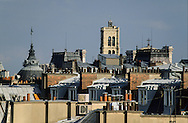 France. Paris. elevated view. saint gervais bell tower and paris roofs