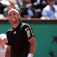 5 June 2009: Fernando Gonzalez of Chile smiles to the audience during the Men's Singles Semi Final match on day thirteen of the French Open at Roland Garros in Paris, France.