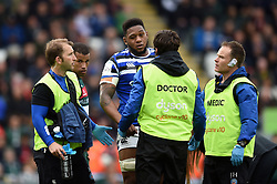 Levi Douglas of Bath Rugby is treated for an injury by the medics - Mandatory byline: Patrick Khachfe/JMP - 07966 386802 - 18/05/2019 - RUGBY UNION - Welford Road - Leicester, England - Leicester Tigers v Bath Rugby - Gallagher Premiership Rugby