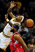 Feb. 11, 2011; Cleveland, OH, USA; Cleveland Cavaliers point guard Daniel Gibson (1) is fouled during over time against the Los Angeles Clippers at Quicken Loans Arena. The Cavaliers broke their loosing streak beating the Clipper 126-119 in overtime. Mandatory Credit: Jason Miller-US PRESSWIRE