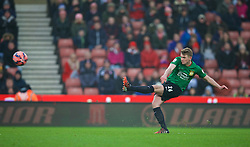 STOKE-ON-TRENT, ENGLAND - Sunday, January 4, 2015: Wrexham's Johnny Hunt in action against Stoke City during the FA Cup 3rd Round match at the Britannia Stadium. (Pic by David Rawcliffe/Propaganda)
