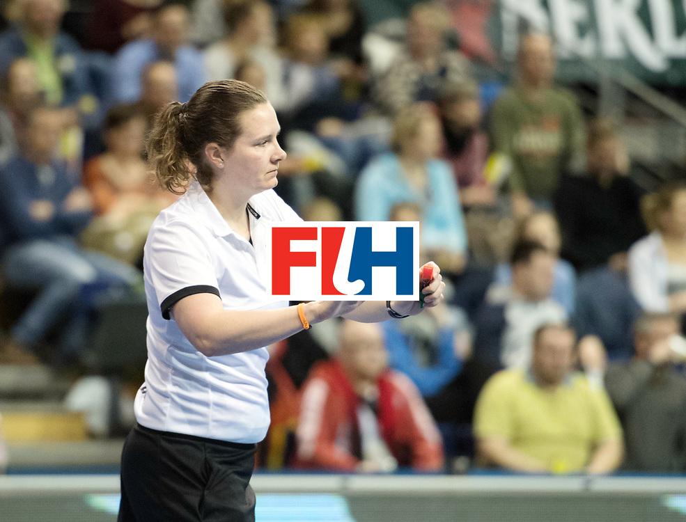 BERLIN - Indoor Hockey World Cup<br /> Bronze: Ukraine - Belarus<br /> foto: Umpire Claire Druijts<br /> WORLDSPORTPICS COPYRIGHT FRANK UIJLENBROEK