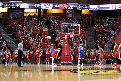 21 February 2018:  Ore Arogundade shoots a free throw at in front of the RedAlert student fans during a College mens basketball game between the Drake Bulldogs and Illinois State Redbirds in Redbird Arena, Normal IL