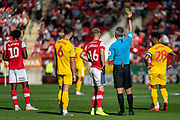 Jamie Lindsay of Rotherham United is awarded a yellow card in the first half during the EFL Sky Bet League 1 match between Rotherham United and Bolton Wanderers at the AESSEAL New York Stadium, Rotherham, England on 14 September 2019.