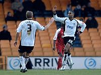 Photo: Glyn Thomas.<br />Port Vale v Southend United. Coca Cola League 1.<br />26/11/2005.<br />Port Vale's Leon Constantine (R) celebrates after scoring a goal.