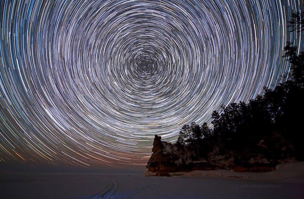 Miners Castle and star trails during the historic freeze of Lake Superior, Pictured Rocks National Lakeshore