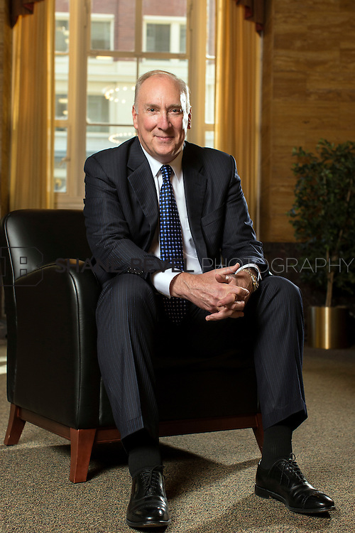 10/8/13 3:05:35 PM --- Outgoing CEO of Bank of Oklahoma Stan Lybarger photographed in the 320 S. Boston building in Tulsa where he began his career 40 years ago. <br /> <br /> Photo by Shane Bevel