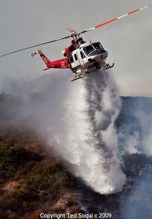 A small brush fire burns off of the 134 freeway near the 2 freeway interchange. It was quickly contained by LA City, LA County, Glendale, Burbank, and Pasadena fire companies.