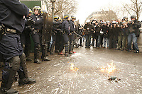 "Paris, France - Place de la Republique....March 28, 2006....Confrontations between vandals (""casseurs"") and the CRS police after a very large peaceful demonstration of students and union members, against the CPE, The Contract of First Employment....Photo by Owen Franken"