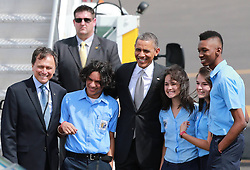 59600230  .Image provided by Costa Rican Presidency shows US President Barack Obama (4th R) posing for a group photo upon his arrival at Juan Santamaria Airport, in San Jose, capital of Costa Rica, on May 3, 2013.  Photo by: imago / i-Images. UK ONLY